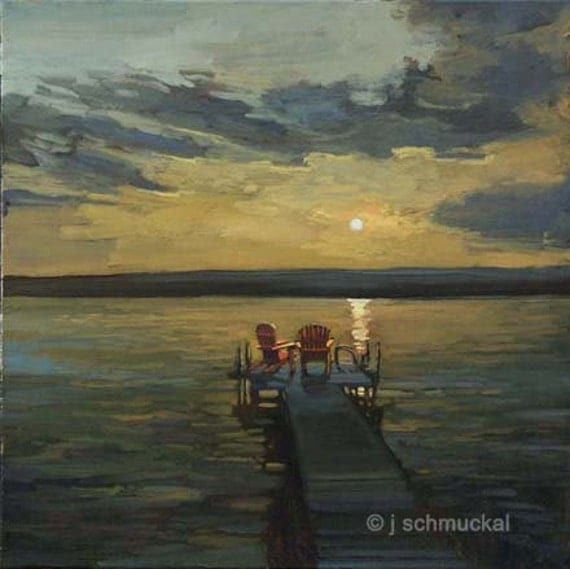 Dock On The Bay - GICLEE Fine Art print  matted 12x12 by Jan Schmuckal