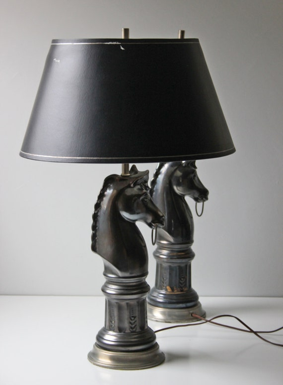 Reserved Pair Of Black Ceramic Horse Bust Table Lamps