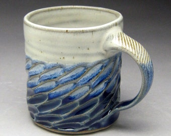 Blue & White Coffee Mug- Carved Stoneware - Made To Order