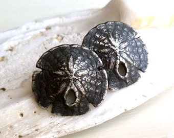 Sand Dollar Studs - Oxidized - Sterling Silver - Organic - Natural - Sea Biscuit - Black - Rustic - Beach Jewelry - Sand Dollar Earrings
