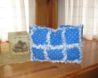 Blue and white polka dot rag quilt handbag tote, free shipping