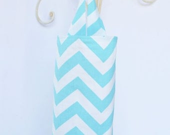 Fabric Plastic Grocery Bag Holder Turquoise Chevron Zig Zag