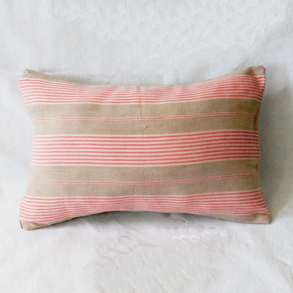 French country cottage - French vintage ticking pillow - eco friendly decorative pillow