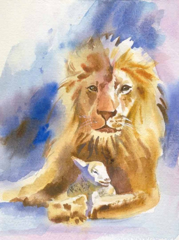 Lion And Lamb Bible Story Watercolor Print W 8 X 10 Inch Mat