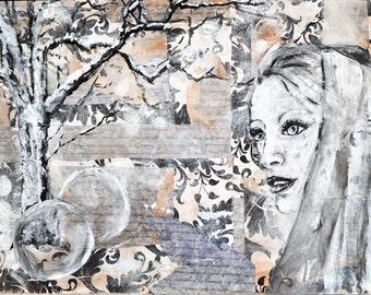 Mixed Media Collage Art The Unremembering 16 x 20, by Jennifer DesJardins