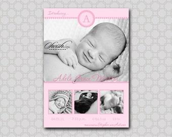 Photo Birth Announcement- Modern Monogram Initial - Digital - you print