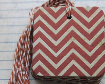 25 Gift tags terra cotta like color distressed Chevron zig zag paper over chipboard...25 prestrung chipboard Tags