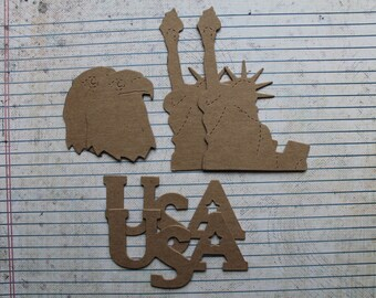 6 Patriotic die cuts 2 of each statue of liberty, eagle, USA word bare chipboard