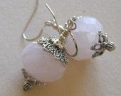 SALE large faceted rose quartz earrings, sterling silver