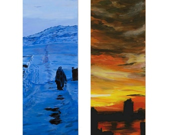 Blue Winter and Across The Hudson (A Pair of Paintings each 30 by 10 inches)