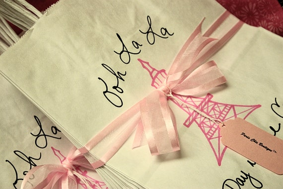 French Wedding Gifts: SET Of 12 Paris Favor Bags Personalized Gift By
