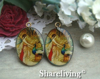 4pcs 18x25mm Handmade Resin Pendant With Bronze Setting (Vintage Fairy) -- RP465M