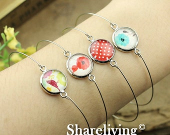 20pcs Silver Bangle Bracelet With 12mm Round Cameo Setting  RI852
