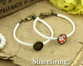 4pcs Bangle Bracelet With 12mm Round Bronze Cameo Setting (White) -- RI855P