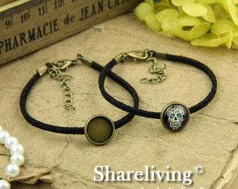 4pcs Bangle Bracelet With 12mm Round Bronze Cameo Setting (Black) -- RI855L