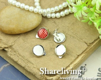 10pcs Silver Solid Brass French Earwires Clips With Round 12mm Cameo Setting EA504