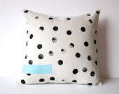 Polka Dot Pillow  - Tan and Black Polka Dot Throw Pillow - Hand Printed Dots - Polka Dot Accent Pillow