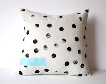 Polka Dot Pillow  - Tan and Black Polka Dot Throw Pillow - Hand Printed Dots - Polka Dot Accent Pillow