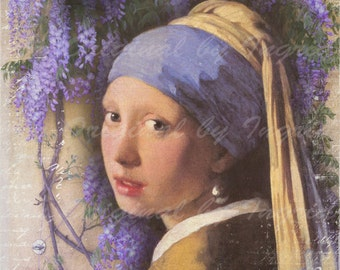 Girl with the Purple Wisteria Digital Collage Greeting Card (Suitable for Framing)