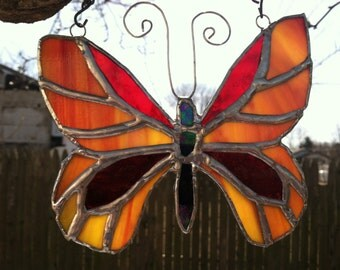Red and Orange Stained Glass Butterfly Suncatcher