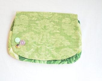Plain Green Flower Clutch with Buttons
