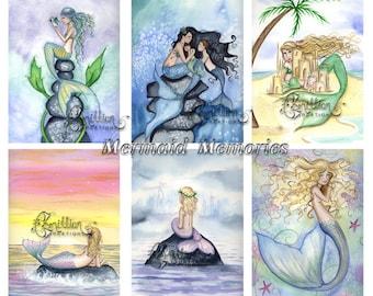 Blank  MERMAIDS Note Mermaid Memories from Original Watercolors by Camille Grimshaw