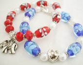 Bracelets Red or Blue Glass Beads.