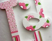 RESERVED for CAROLE Personalized Custom Painted Decorative Wooden Wall Letters...Priced Per Letter