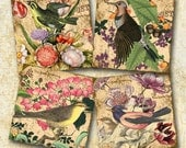 Birds & Flowers -coasters/tiles -4x4 inch AND 2x2 inch -SOoo WHiMSiCaL- CHaRMiNG Printable Collage Sheet JPG Digital File--BuY 1 GeT 1 FREE