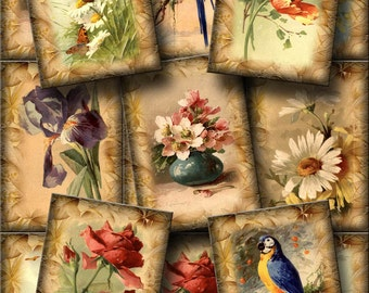 FLoWERS BiRDS BuTTERFLIES - CHaRMiNG Vintage Art Hang/Gift Tags/Cards -LoVeLY Printable Collage Sheet JPG Digital File-NeW LoWER PRiCE