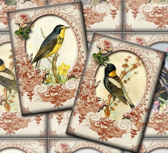 Birds-LoVeLY Victorian ViNtAgE ArT Hang/ Gift Tags/Cards-INSTaNT DOWNLoAD- Printable Collage Sheet JPG Digital File- NeW LoWER PRiCE