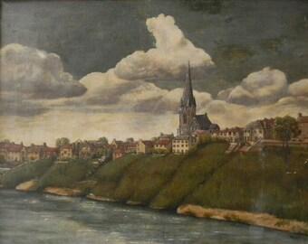 Vintage Antique Oil Painting Landscape