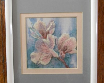 Vintage Needlework Artwork . Framed