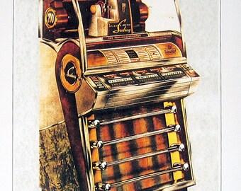 Jukebox Print - Seeberg Model V200 - 1988 Vintage Book Page
