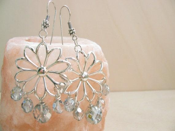 Sparkling Flowers Earrings - Sterling Silver Flower Pendant - Crystal Beads - Silver Earwires - OOAK