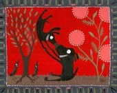 Whimsical Fun Black Dogs and Crows Print - Valentines Day 5x7 Red, Black Lab, Pink, Green Folk Art