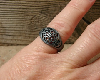70% OFF Going Out of Business Sale..  Celtic Trinity - Sterling Silver ring oxidized Black Only- Size 5.25