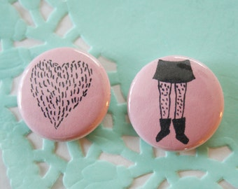 Pink Furr Love One Inch Button Set of 2
