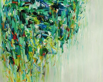 Fine Art Print 16x20 Archival Matted giclee print - from original oil painting Rain Tree- Signed- Abstract Painting print -wall decor