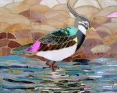 Lapwing / Peewit Mosaic Greetings Card - Mosaic Art