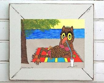"Owl - August Girl... original painting, acrylic on paper, 8.9x6.5"", 22.5 x 16.5 cm, abstract, owl, beach, fantasy, bird"