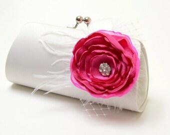 Feather Bridal Clutch in Off White & Fuchsia Pink - Shabby Chic Clutch - Bouquet Clutch - Rhinestone Flower Blossom - Medium Size