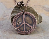 Hand Stamped Brass and Copper Peace Sign Necklace