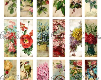 Victorian Floral Microscope Slides Collage Sheet - Mixed Media Supplies - DIY Printable - INSTANT DOWNLOAD