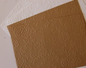 10 Beautiful Embossed Anna Griffin-Rosa Kraft Papers for cardmaking, scrapbooking, journaling, paper crafts 5x7