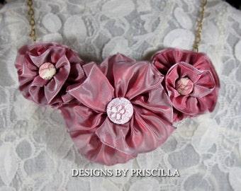 Mauve Pink Roses Flower Necklace Ribbon Flowers Bib Necklace