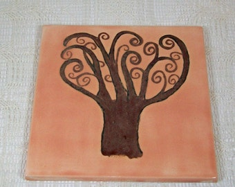 Kitchen Trivet with Tree | Peach Trivet | Kitchen Trivet | Ceramic Trivet | Ceramic Coasters |  Cup Coasters | Ceramic Spoon Rest