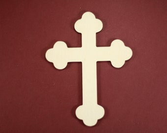 """Cross """"Orthodox"""" Shape Unfinished Wood Laser Cut Shapes Crafts Variety of Sizes"""