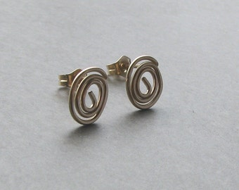 Gold filled spiral stud earrings round post