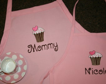 """Vanilla Cupcake- 24"""" or 34""""L Custom Embroidered Apron for the Mom and Daughter - 2 youth sizes available--Mother's Day gift"""